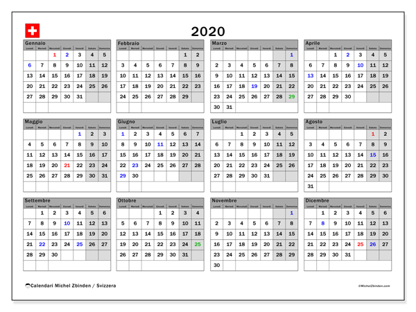 Calendario 2020 Con Festivita Da Stampare.Calendario 2020 Svizzera Michel Zbinden It