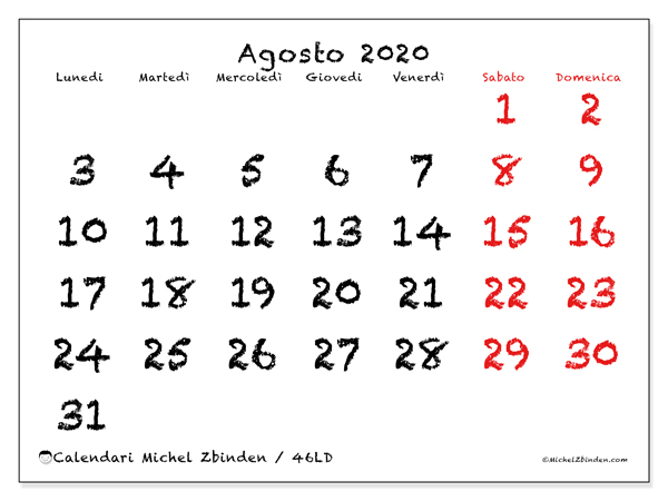 Calendario agosto 2020, 46LD. Calendario stampabile gratuito.