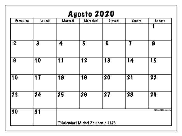 Agosto 2020 Calendario.Calendari Agosto 2020 Ds Michel Zbinden It
