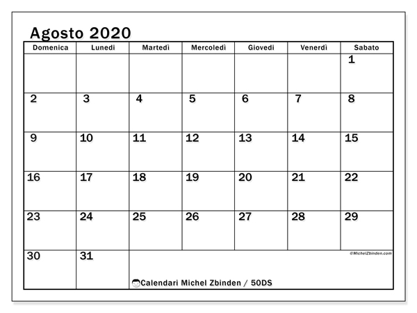 Calendario 2020 2020 Da Stampare.Calendari Agosto 2020 Ds Michel Zbinden It