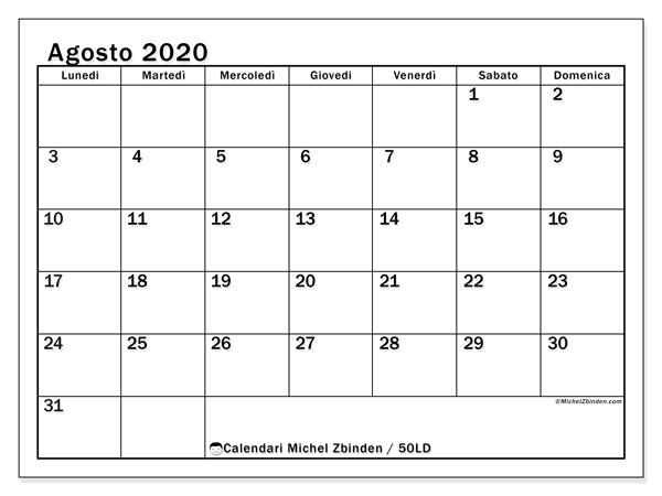 Calendario agosto 2020, 50LD. Orario da stampare gratis.