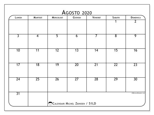 Calendario agosto 2020, 51LD. Calendario gratuito da stampare.