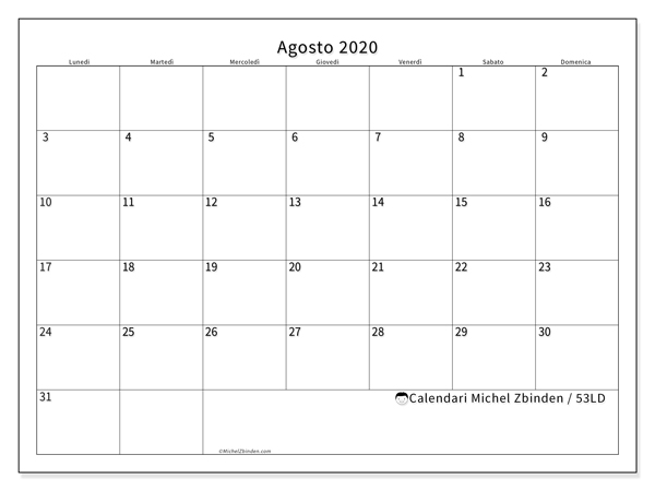 Calendario agosto 2020, 53LD. Calendario stampabile gratuito.