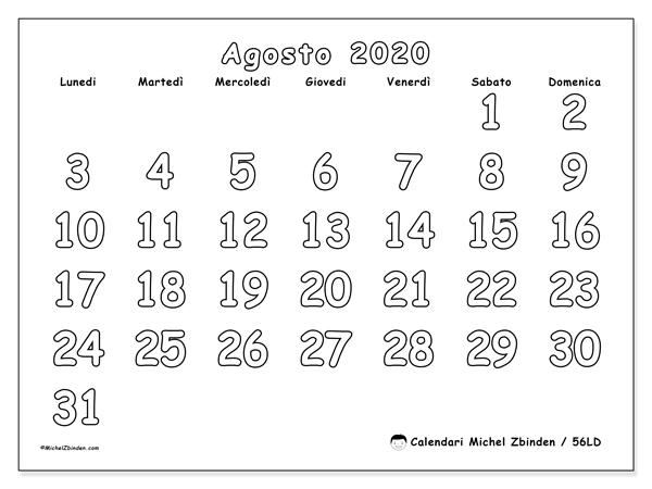 Calendario agosto 2020, 56LD. Calendario per la stampa gratis.