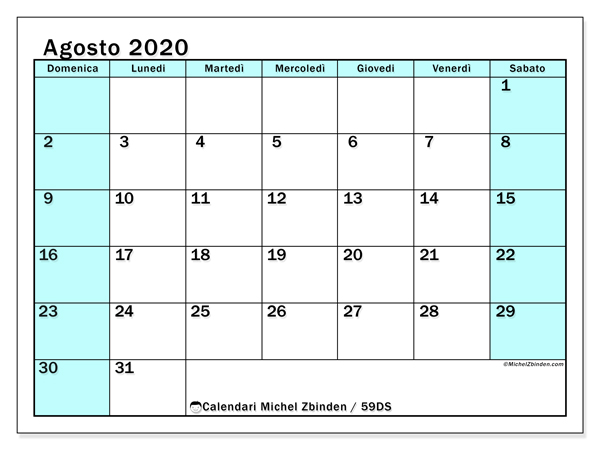 Calendario agosto 2020, 59DS. Calendario da stampare gratis.