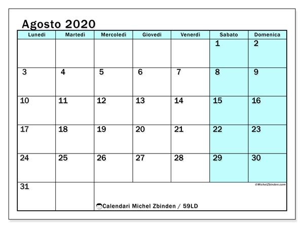 Calendario agosto 2020, 59LD. Calendario da stampare gratis.