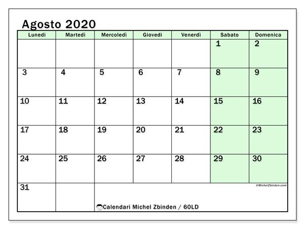 Calendario agosto 2020, 60LD. Calendario per la stampa gratis.