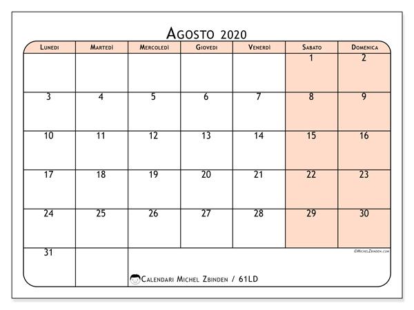 Calendario agosto 2020, 61LD. Calendario stampabile gratuito.