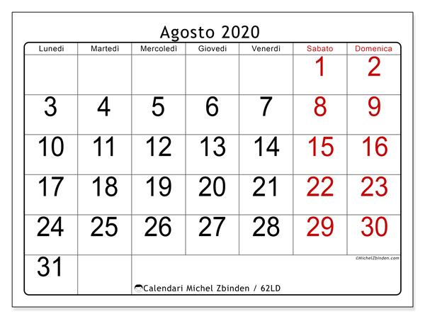 Calendario agosto 2020, 62LD. Calendario per la stampa gratis.
