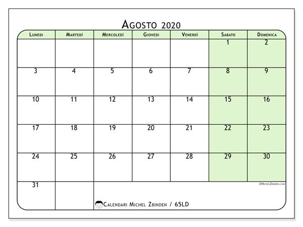 Calendario Editabile 2020.Calendario Agosto 2020 65ld Michel Zbinden It