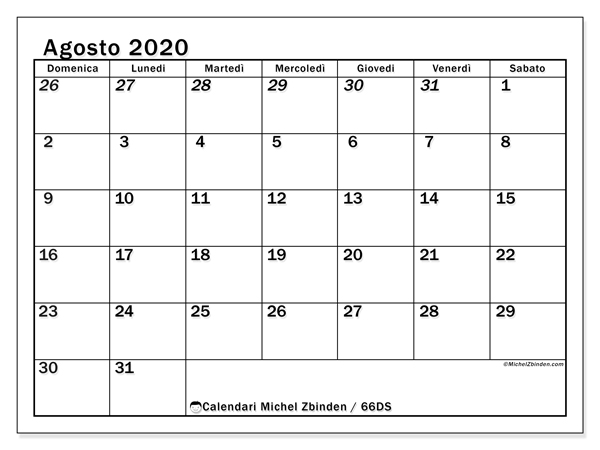 Calendario agosto 2020, 66DS. Calendario da stampare gratis.
