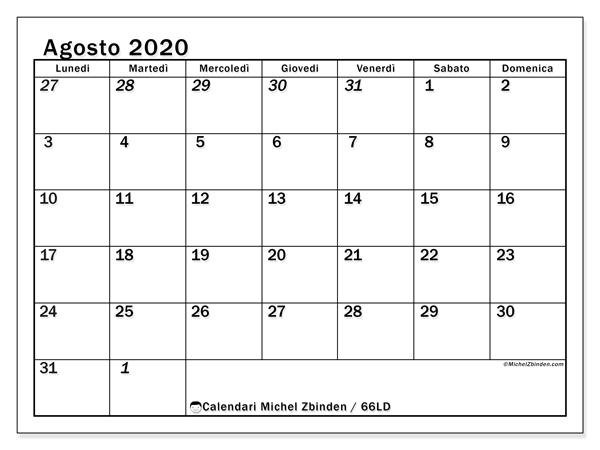 Calendario agosto 2020, 66LD. Calendario per il mese da stampare gratuitamente.