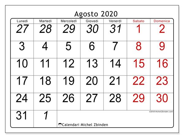 Agosto 2020 Calendario.Calendario Agosto 2020 72ld Michel Zbinden It