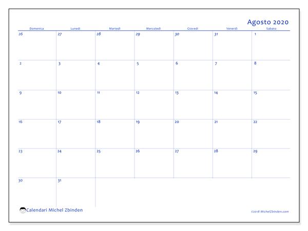 Calendario agosto 2020, 73DS. Calendario da stampare gratis.