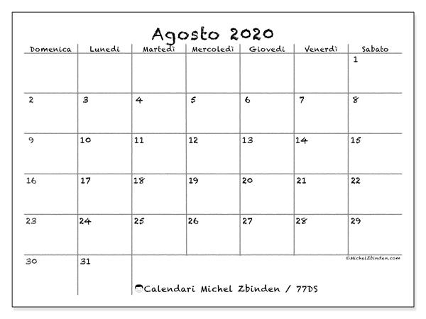 Calendario Agosto 2020 Da Stampare.Calendario Agosto 2020 77ds Michel Zbinden It