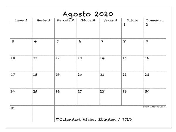 Calendario agosto 2020, 77LD. Calendario da stampare gratis.