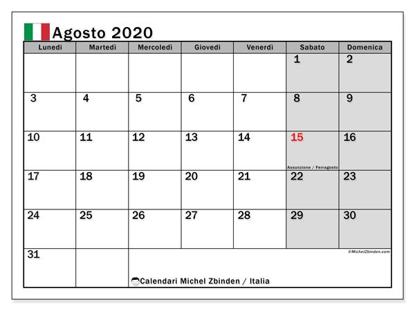 Calendario agosto 2020, con giorni festivi in Italia. Calendario Vacanze e festività per stampare gratuitamente.