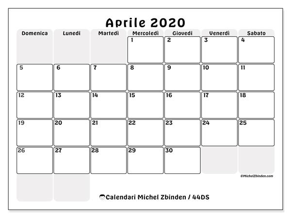 Calendario aprile 2020, 44DS. Orario da stampare gratis.