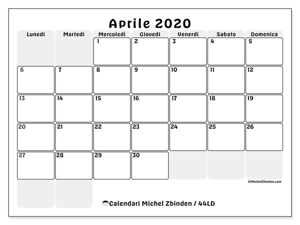 Calendario Aprile 2020 Con Santi.Calendario Aprile 2020 Da Stampare Calendario 2020