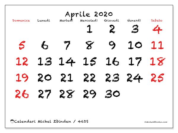 Calendario aprile 2020, 46DS. Calendario mensile da stampare gratuitamente.