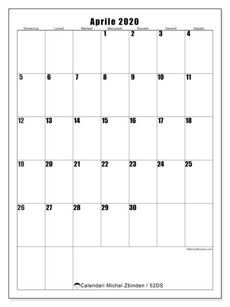 Calendario aprile 2020, 52DS. Calendario da stampare gratis.