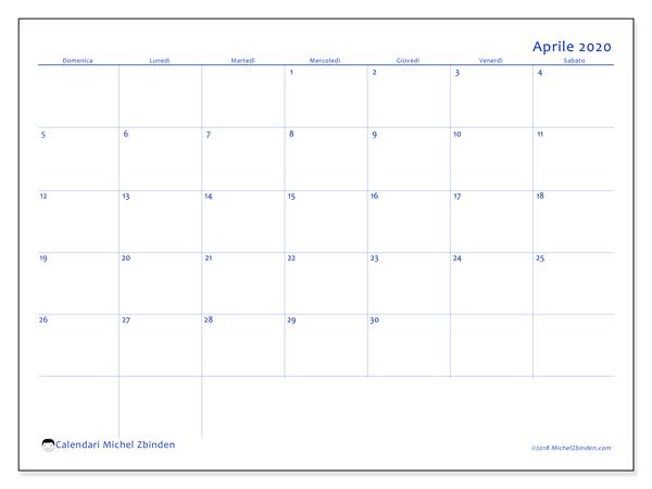 Calendario Mese Aprile 2020.Calendario Aprile 2020 55ds Michel Zbinden It