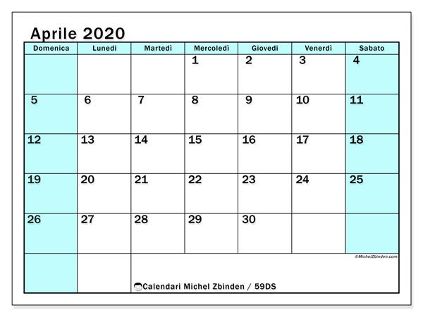 Calendario aprile 2020, 59DS. Orario da stampare gratis.