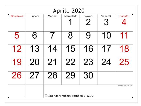 Calendario aprile 2020, 62DS. Calendario per il mese da stampare gratuitamente.