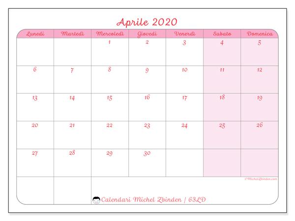 Calendario aprile 2020, 63LD. Calendario da stampare gratis.