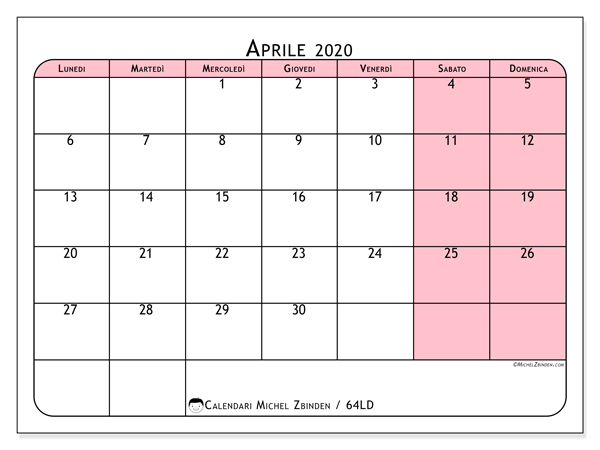Calendario aprile 2020, 64LD. Calendario mensile da stampare gratuitamente.