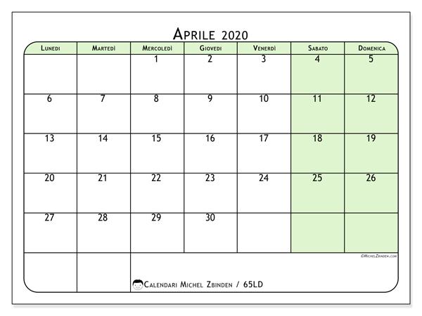 Calendario aprile 2020, 65LD. Calendario mensile da stampare gratuitamente.