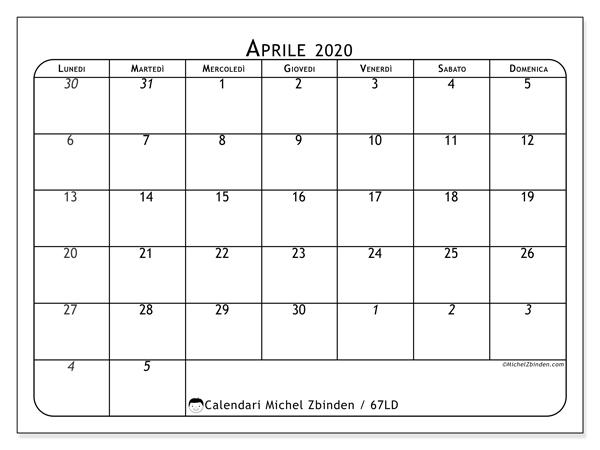 Calendario aprile 2020, 67LD. Calendario mensile da stampare gratuitamente.