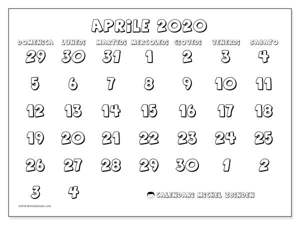 Calendario Mese Aprile 2020.Calendario Aprile 2020 71ds Michel Zbinden It