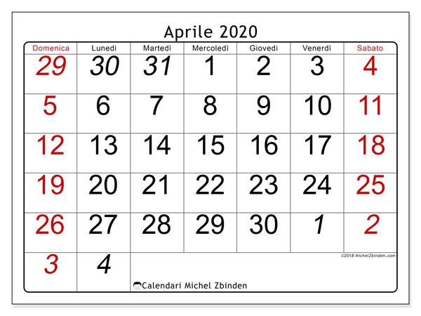 Calendario Mese Aprile 2020.Calendario Aprile 2020 72ds Michel Zbinden It