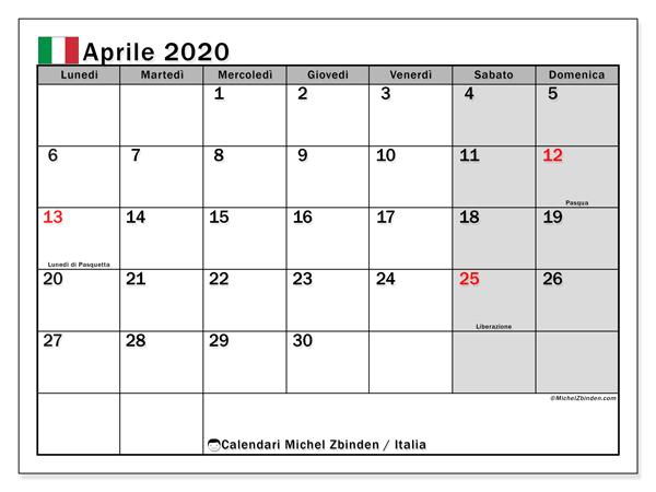 Calendario aprile 2020, con giorni festivi in Italia. Calendario da stampare gratuita con giorni festivi.