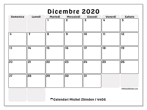 Calendario Da Stampare Dicembre 2020.Calendario Dicembre 2020 44ds Michel Zbinden It
