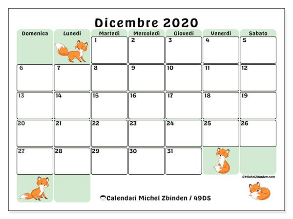 Calendario dicembre 2020, 49DS. Calendario gratuito da stampare.