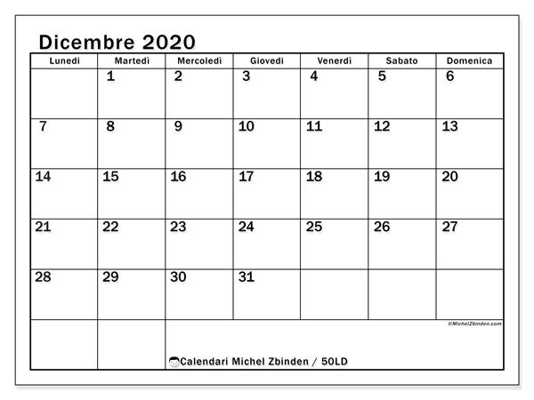 Calendario dicembre 2020, 50LD. Calendario per il mese da stampare gratuitamente.