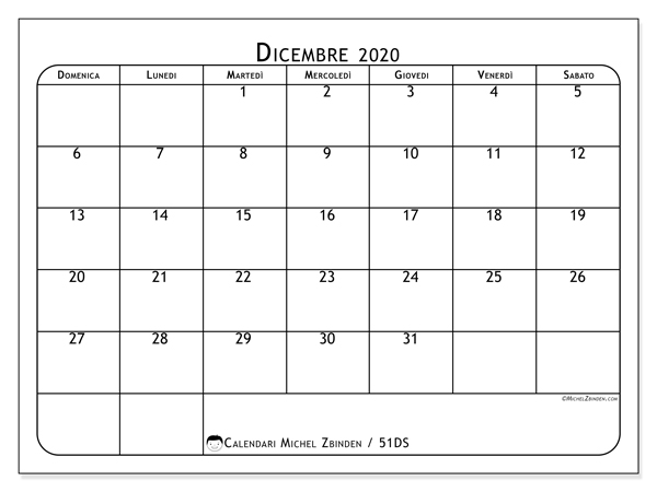 Calendario Da Stampare Dicembre 2020.Calendario Dicembre 2020 51ds Michel Zbinden It