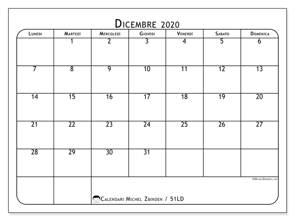 Dicembre Calendario 2020.Calendario Mese Dicembre 2020 Calendario 2020