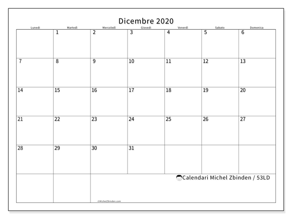 Calendario dicembre 2020, 53LD. Calendario gratuito da stampare.