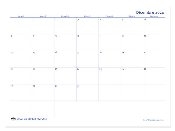 Calendario dicembre 2020, 55LD. Calendario gratuito da stampare.