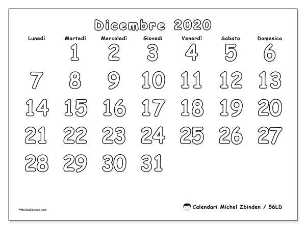 Calendario dicembre 2020, 56LD. Calendario da stampare gratis.