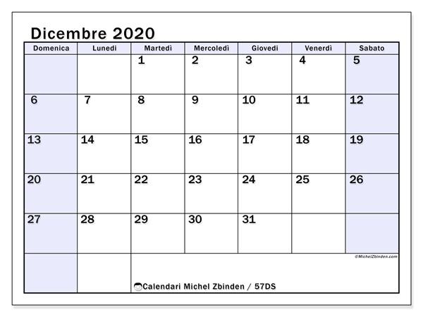 Calendario dicembre 2020, 57DS. Calendario gratuito da stampare.