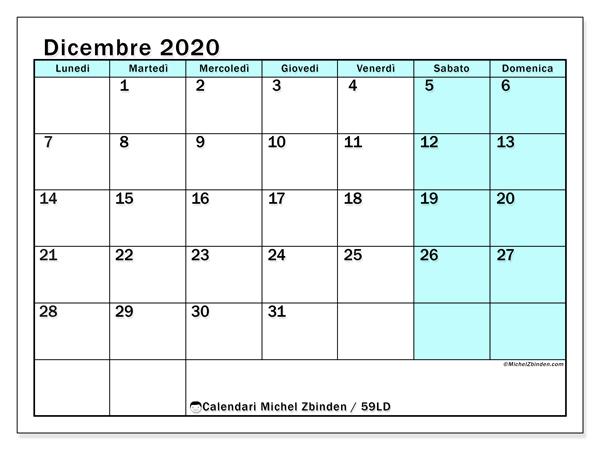 Calendario dicembre 2020, 59LD. Calendario per il mese da stampare gratuitamente.