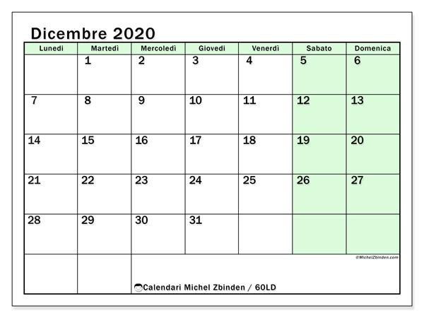 Calendario dicembre 2020, 60LD. Calendario da stampare gratis.