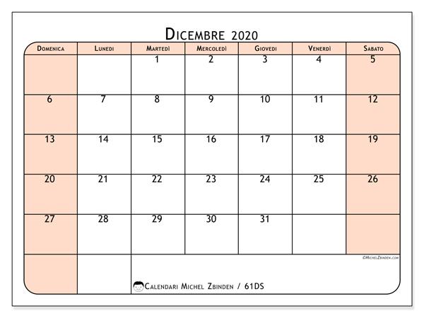 Calendario dicembre 2020, 61DS. Calendario per il mese da stampare gratuitamente.