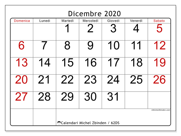 Calendario Da Stampare Dicembre 2020.Calendario Dicembre 2020 62ds Michel Zbinden It