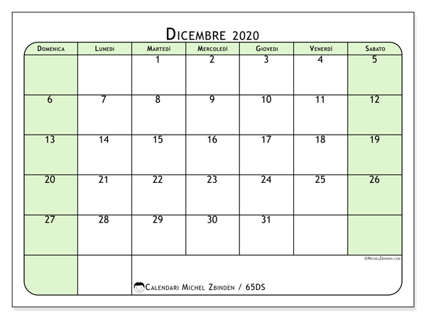Calendario Da Stampare Dicembre 2020.Calendario Dicembre 2020 65ds Michel Zbinden It