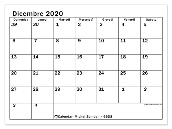 Calendario dicembre 2020, 66DS. Calendario da stampare gratis.